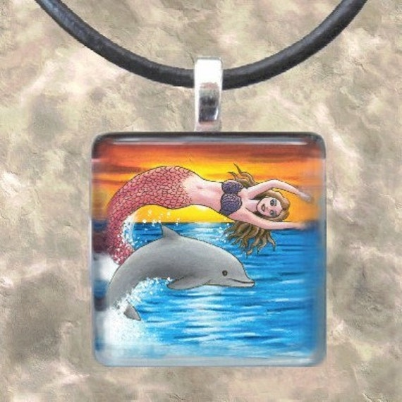 Mermaid 5 Dolphin Art Glass Pendant 1x1 Jewelry Necklace from painting by L.Dumas
