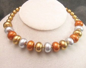 Vintage Bead Necklace Faux Mixed Metals N5027
