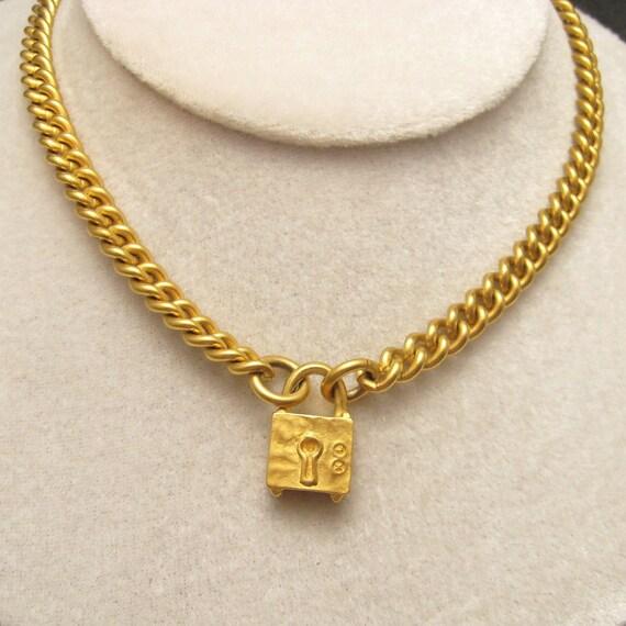 Vintage Karl Lagerfeld Padlock Necklace N4732