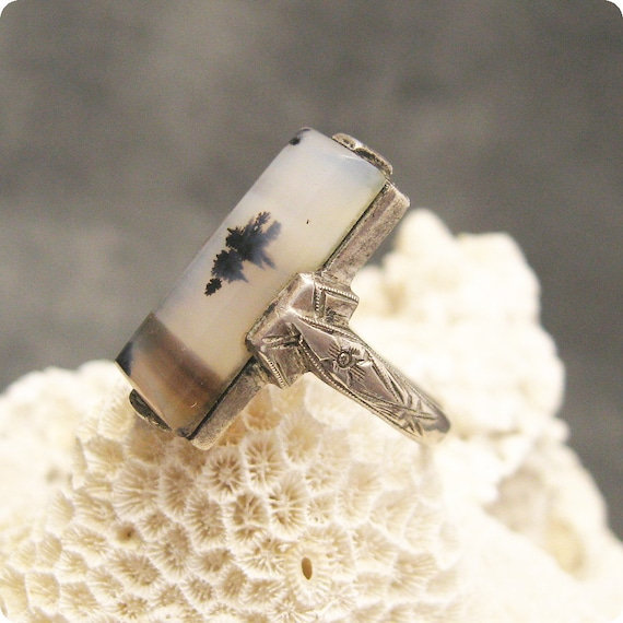 Sterling Moss Agate Ring Art Deco R4748