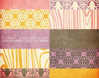 12x12 Digital Paper Collection - Flora Flourish Blush - Great for Scrapbooking or Photographers - 10 .JPG Files (300dpi) - PX8007