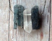 Crystal Point and Raw Blue Kyanite Shards Necklace Rocks and Minerals Specimens Oxidized Sterling Silver Unisex Gemstone Pendant Gift Box