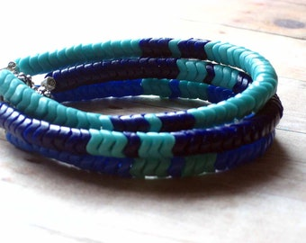 Chevron Tribal Bracelets in Shades of Blue - African Snake Trade Beads, Vintage - Indigo, Teal  Blue - Boho Bohemian Unisex