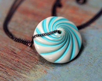 Carnival Swirl Pendant  Circus Flying Saucer Disc Necklace  Vintage  Aqua Blue, White, Gunmetal  Whimsical Gift  Gift Box