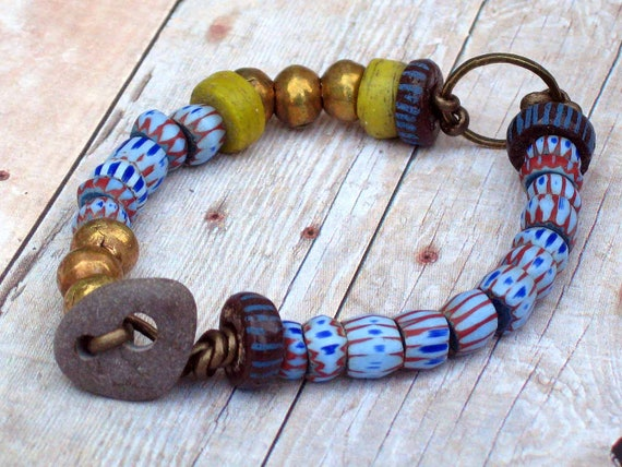 Tribal Trade Bead Bracelet - African, Mixed Vintage, Native Hebron, Awale Chevrons - Metallic Bronze Leather - Brass, Indigo Blue, Yellow