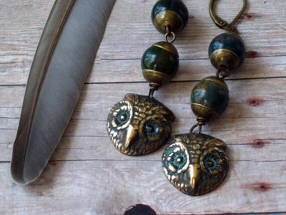 Green Jasper Owl Earrings - Woodland Dangles - Forest Green Gemstones - Autumn, Fall Fashion Gift Box
