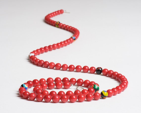 Red Necklace with Antique Millefiori Glass and Dolomite - Veneto