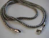 Oxidized Silver Rope Chain, 38 inch 2mm Thick, Solid 925 Sterling Silver with Lobster Clasp, Silver Rope Necklace