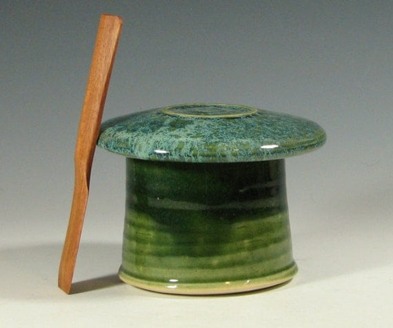 Butter dish with spreader, ceramic french crock keeper serving, glazed in geen moss, handmade stoneware by hughes pottery
