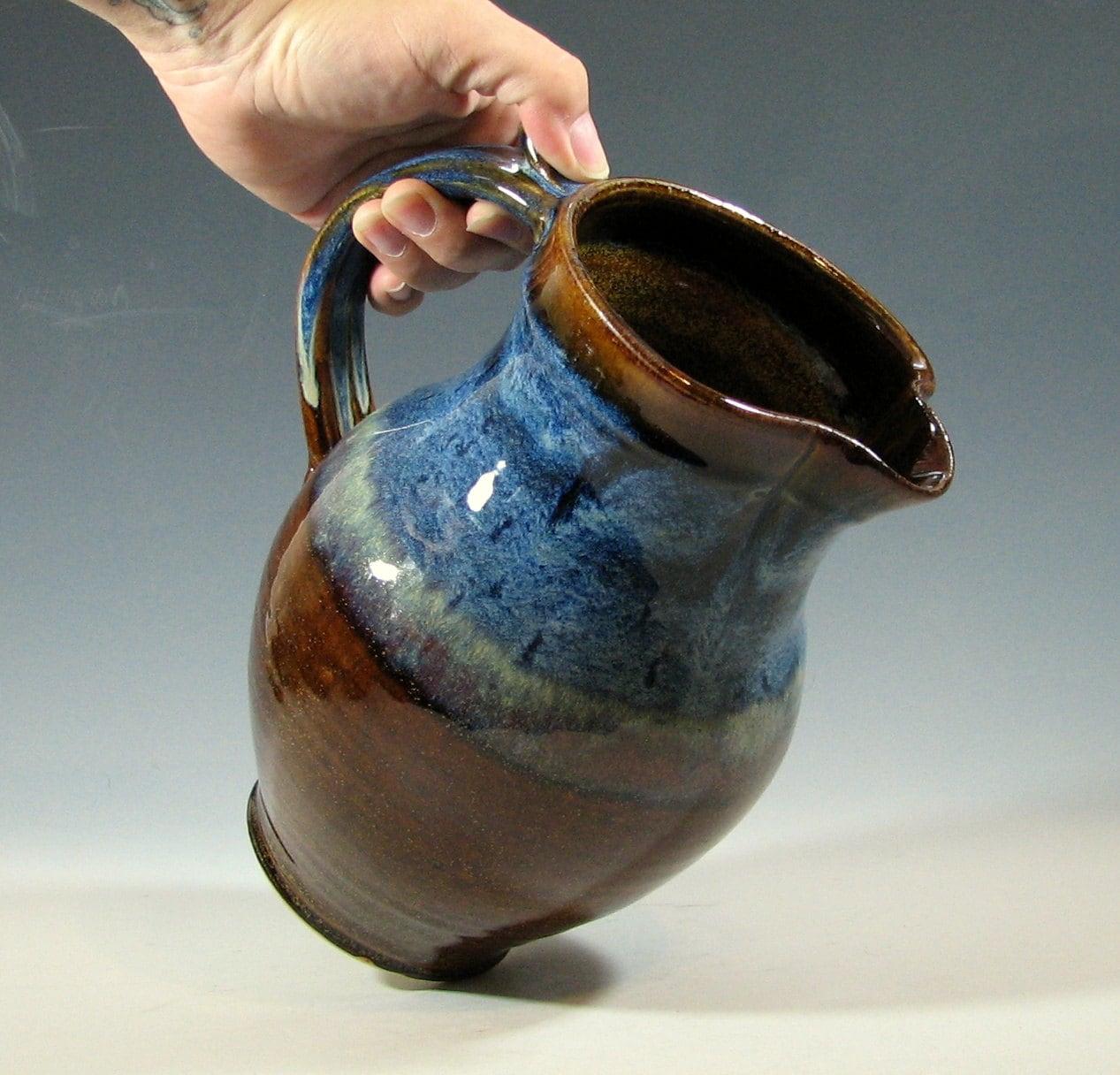 Pitcher Ceramic Jug Drinks Serving Glazed In Brown And Blue