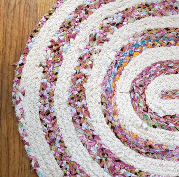 Upcycled Handmade Oblong/Oval Braided Rag Rug