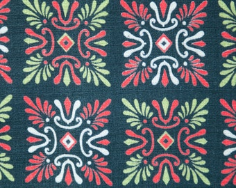 "Mod Atomic Folk Art Barkcloth - Cottage Geometric 50s 60s New Old Stock 35"" wide Christmas"