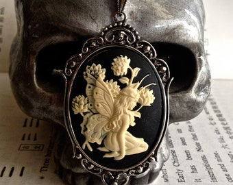 Shaylee Gothic Necklace - Ivory Black Fairy Cameo 40x30mm - Insurance Included