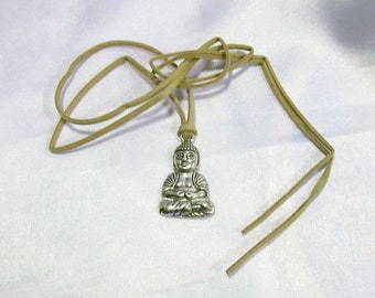 Silver Meditating Buddha Pendant Amulet Necklace Suede Cord