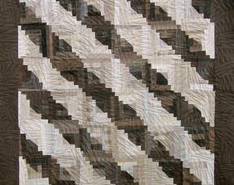 Patchwork Quilt - brown and beige Japanese Taupe Log Cabin