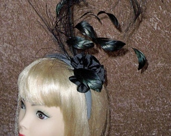 Custom Made Black Feather Fascinator Headband by Taissa Lada,Black Headband,Feather Headband,Curled Black Feathers,Drag Queen,Gothic,Retro