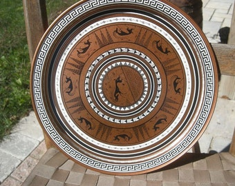 Vintage Decorative Reproduction Grecian Etruscan Metal Plate Round Serving Tray From enamel on copper plate