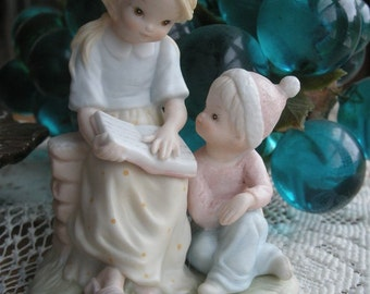 Vintage Lefton Christopher Collection Figurine 03852 Young Girl and boy Reading and learning from the Bible