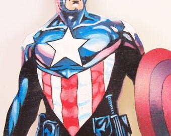 Hand painted acrylics on wood hand painted Captain  America