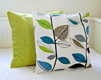 decorative pillows teal blue lime green leaves accent  lime pair of cushion covers 16 inch