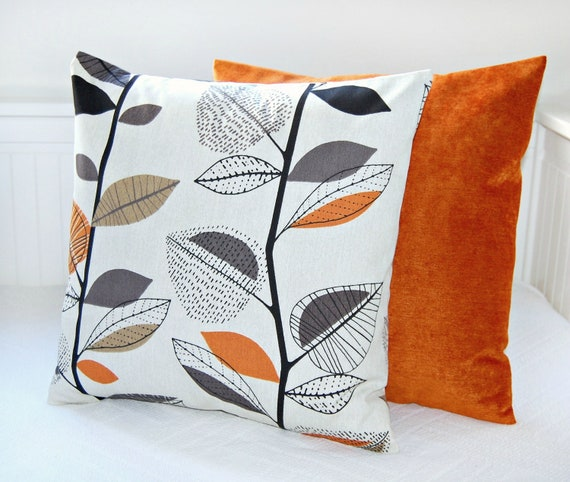 Items Similar To Pair Of Pillow Covers Leaves Accent Burnt