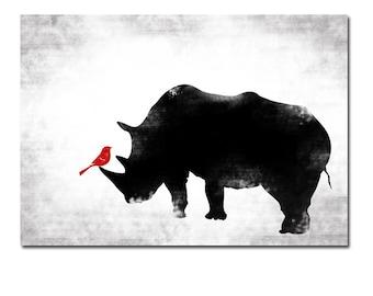 Black & White Rhino and Red bird -  Kids Art Prints, Rhinoceros art , rhino animal, black rhino, nursery decorating ideas, nursery rhino