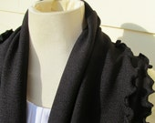 Black Ruffled Infinity Scarf Rib Knit Fabric Cowl