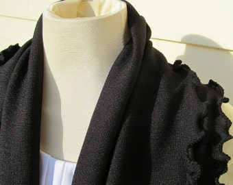 Black Ruffled Infinity Scarf Rib Knit Fabric Cowl