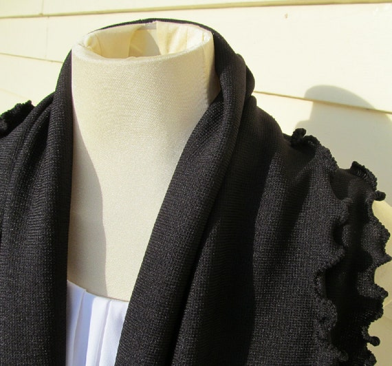 Black Knitted Infinity Scarf Black Ruffled Infinity Scarf