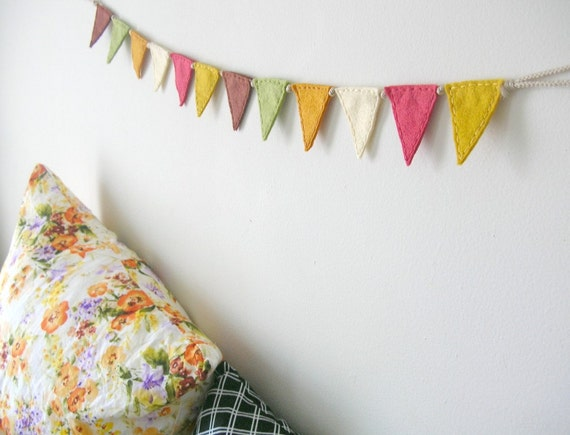 Wee Autumnal Bunting Flags // Nursery Bunting // Felt Triangle Flags // Home Decor Fall Harvest by OrdinaryMommy on Etsy