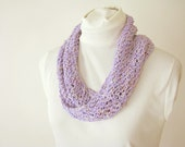 Lavender Infinity Summer Scarf - Handknit Cotton Lace Twist Scarf