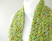 Handknit Green Lace Scarf for Her - Fuzzy Green Scarf - Field of Flowers