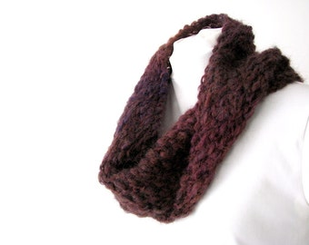 Handknit Ombre Lace Moebius Cowl Circle Scarf - Plum to Burgundy, Unisex, Adult