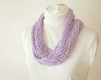Lavender Infinity Summer Scarf - Handknit Cotton Lace Twist Scarf for Female Kid or Adult