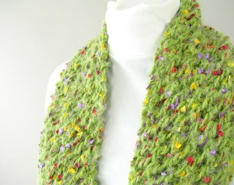 Handknit Green Lace Scarf for Adult Female - Fuzzy Green Scarf - Field of Flowers