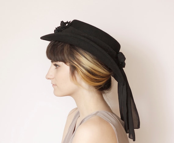 Steampunk Victorian Riding Hat with Cameo/Beaded Train