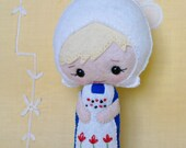 Handmade Doll Dutch Holland Netherlands Girl Wool Felt Red White Blue Blond Gingermelon Pattern International Dolls Design MADE TO ORDER