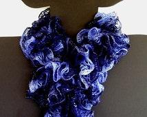 Ruffle Knit Crochet Scarf Blue Navy Shades Sashay Yarn