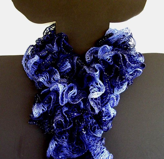 Cable Knit Hat Free Pattern : Ruffle Knit Crochet Scarf Blue Navy Shades Sashay Yarn