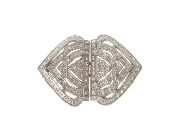 Art Deco Belt Buckle Vintage Rhinestone Deco 1920s Wedding Accessory