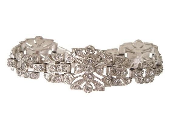 Art Deco Bracelet Trifari TKF Vintage Rhinestone Bracelet 1930s Wedding Jewelry