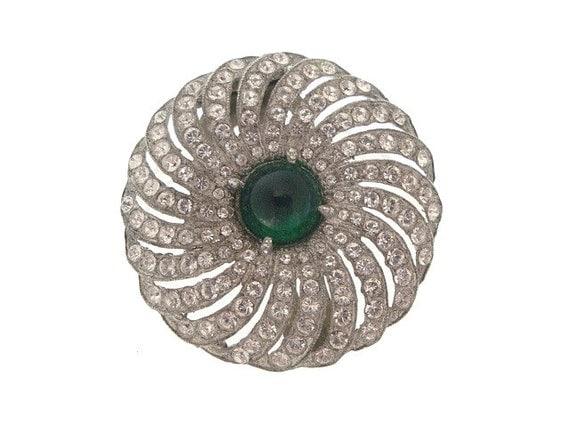 Art Deco Brooch Dress Clip Emerald Green 1920s Vintage Wedding Jewelry