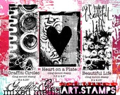 Graffiti Glam rubber stamps limited edition SET THREE