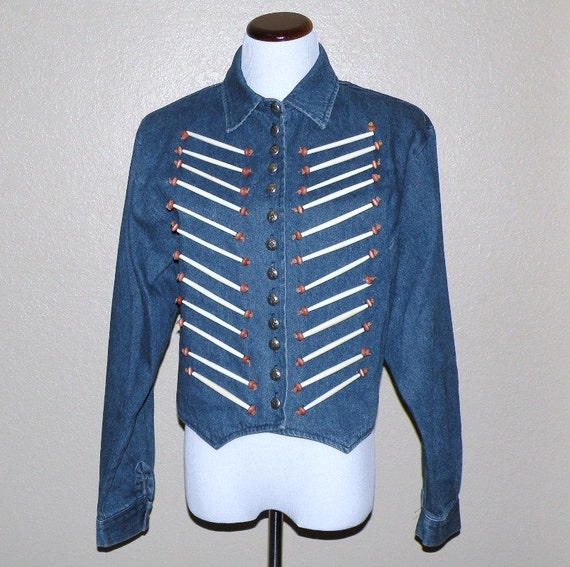 Sale was 55.00 Denim Old West Native American Design Jacket with Faux QUILL Design Size Large
