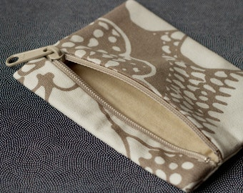 XS Zipper Canvas Pouch - Brown Floral