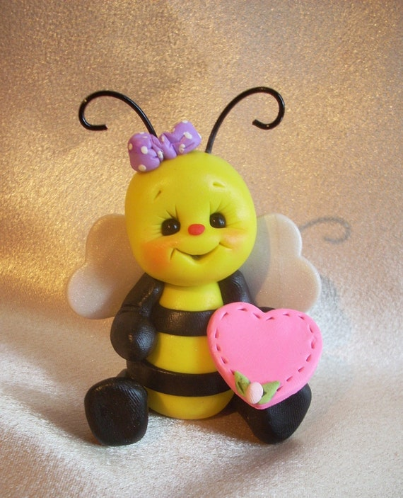 bee bumble bee bug sculpture Christmas ornament cake topper sculpture figurine gift polymer clay