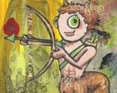 Sagittarius Zodiac Monster Original lowbrow mixed media Astrology fantasy cartoon creature birthday art collage