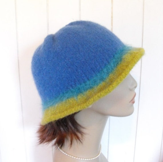 Hand Knit Wool Cloche Blue Felted Hat
