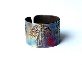 Etched Copper earcuff tree design, tree earcuff