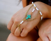VINTAGE white glass beaded chain and turquoise cross hand jewelry